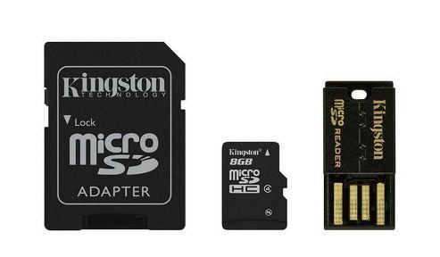 Kingston microSDHC 8GB Class 4 Card + SD Adapter + USB Reader
