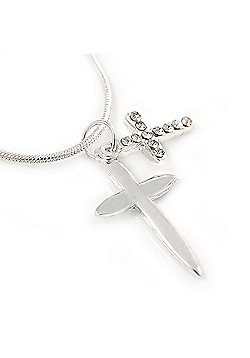 Silver Plated Double Cross Pendant with Snake Type Chain - 46cm L/ 4cm Ext