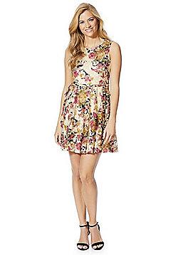 Mela London Floral Skater Dress - Beige