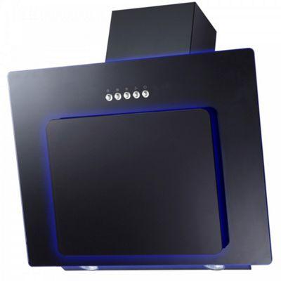 Cookology VML609BK 60cm Blue LED Edge Lit Angled Cooker Hood in Black Glass