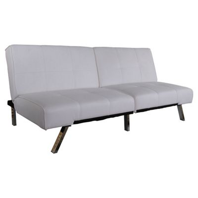 Leader Lifestyle Royale 3 Seater Convertible Sofa Clic Clac Bed - White PU Leather