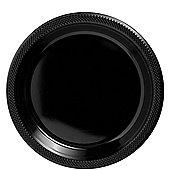 Black Plastic Plates 22.8cm, Pack of 20