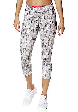 F&F Active Race for Life Snake Print Cropped Leggings - Grey