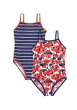 F&F 2 Pack of Floral and Striped Swimsuits - Blue & Red