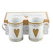 Beautifully Designed 50th Golden Anniversary Mug Set with Matching Gift Box