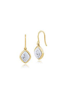 Gemondo 925 Gold Plated Sterling Silver 3.00ct Howlite Drop Earrings