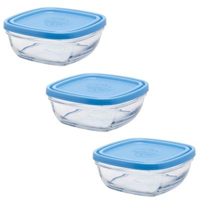 Duralex Stacking Square Glass Lunchbox / Ingredients Food Bowl & Lid - 9cm - x3