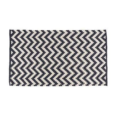 Homescapes Casablanca Handwoven Zig Zag Pattern Black and White 100% Cotton KIlim Rug, 160 x 230 cm