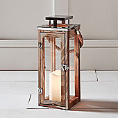 Large Wooden Battery LED Candle Lantern with Rope Handle