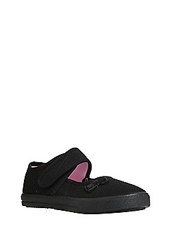 F&F School Girls Mary Jane Plimsolls - Black