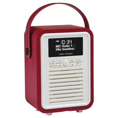 VQ Retro Mini DAB+ Portable Digital Radio and Wireless Bluetooth - Red