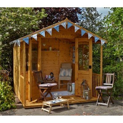 8 x 8 Rock Hollington Summerhouse - Assembled Garden Wooden Summerhouse 8ft x 8ft (2.44m x 2.44m)