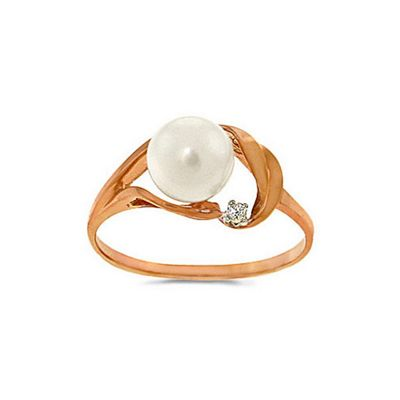 QP Jewellers Diamond & Pearl Ring in 14K Rose Gold - Size U