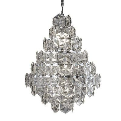 TILES 11 LIGHT CEILING PENDANT, CLEAR GLASS DETAIL TRIM, CHROME