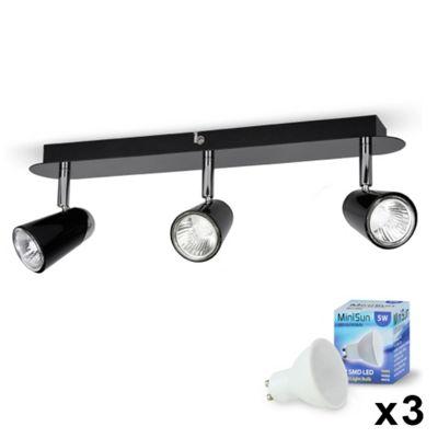 Hardy Three Way LED Ceiling Spotlight, Gloss Black & Chrome & Warm White GU10 Bulbs