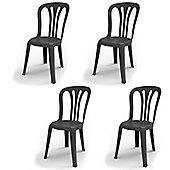 Resol Garrotxa Plastic Home Garden Outdoor Dining Chair - Grey - Pack of 4