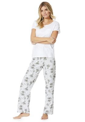 F&F Floral Pyjamas White/Grey 8-10
