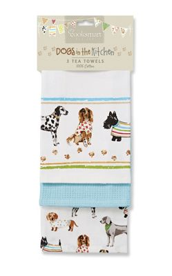 Cooksmart Best In Show Dog Design Tea Towels, Pack of 3