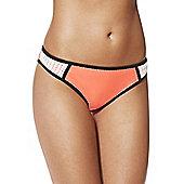 F&F Crochet Trim Colour Block Narrow Bikini Briefs - Coral