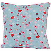 Homescapes Cotton Birds and Flower Scatter Cushion, 45 x 45 cm