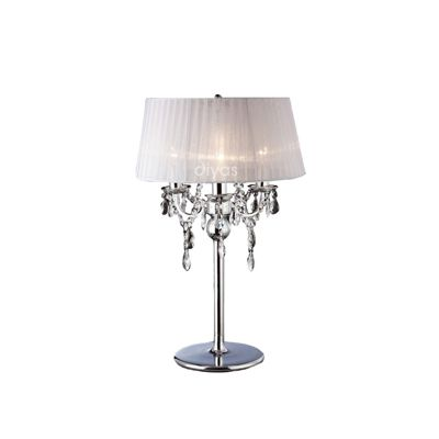 Olivia Table Lamp With White Shade 3 Light Crystal
