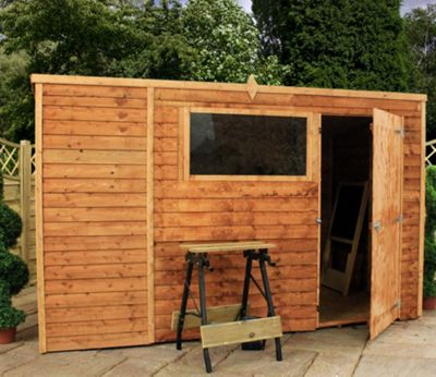 Mercia Overlap Pent Wooden Shed, 10x6ft