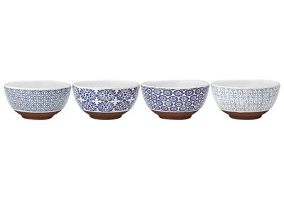 Ladelle Tapas Blue Print Bowls, Set of 4
