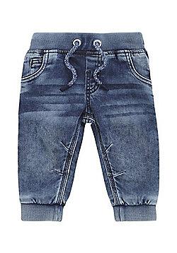 F&F Rib Waist Cuffed Jeans - Mid wash