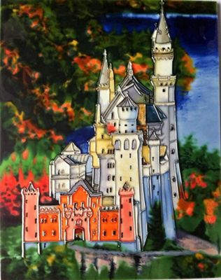 YH Arts Ceramic Wall Art, Fairytale Castle 11 x 14