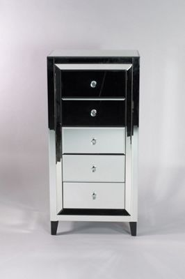 Mirrored 5 Drawer Tall Chest