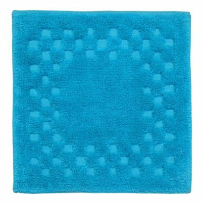 Homescapes Cotton Check Border Turquoise Shower Mat