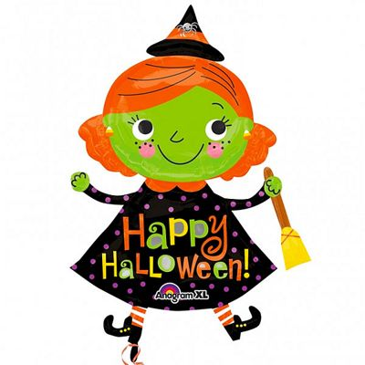 Halloween Cute Witch Balloon - 37 inch Foil