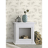 Passepartout Trees Wallpaper Grey and White Rasch 605433