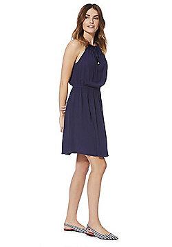 F&F Keyhole Front Halterneck Dress - Navy Blue