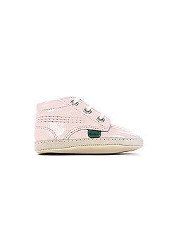 Kickers Kick Hi Baby Patent Leather Infant Kids Girls Crib Shoe Boot Pink - Pink
