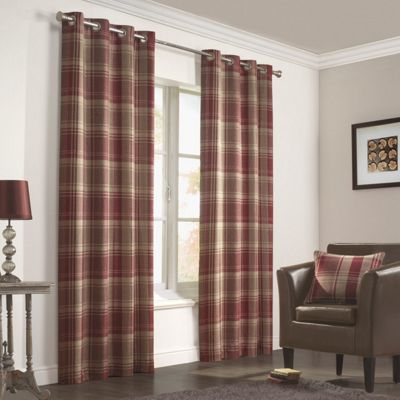 Julian Charles Inverness Rust Lined Woven Eyelet Curtains - 90x54 Inches (229x137cm)