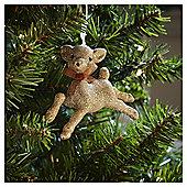 Gold Glitter Bambi Christmas Tree Decoration