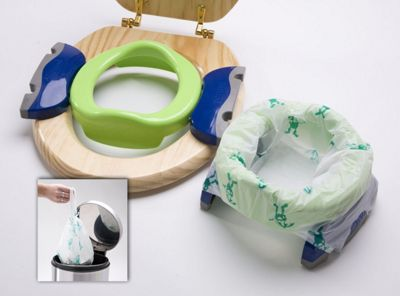 Bibs & Stuff - Potette Plus Baby Travel Potty - Green & Blue