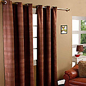 "Homescapes Cotton Rajput Ribbed Chocolate Brown Curtain Pair, 66 x 90"" Drop"