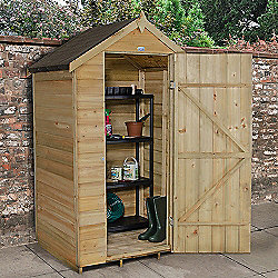 Forest Garden 4x3 Overlap Pressure Treated Apex Shed No Windows