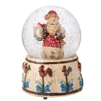Musical Santa Snow Globe With Wreath