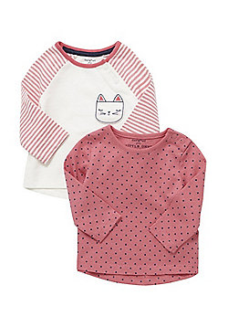 F&F 2 Pack of Cat Design and Polka Dot Long Sleeve T-Shirts - Pink