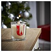Tesco Alphabet Christmas Filled Candle Jar U