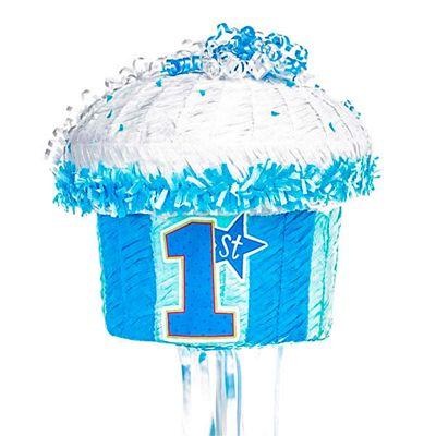 1st Birthday Blue Cupcake Pull Pinata