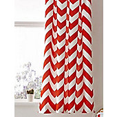 Red and White Chevron Curtains 46 x 54, Pencil Pleat, 100% Cotton Zig Zag Pattern
