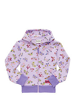 Babeskin Butterfly Print Zip-Through Hoodie - Purple & Multi