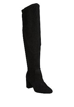 F&F Sensitive Sole Shower Resistant Over the Knee Sock Boots - Black