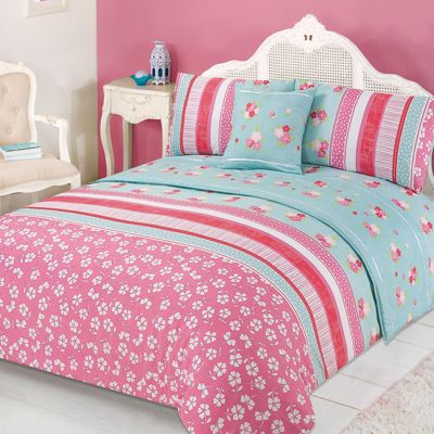 Dreamscene Floral Quilt Cover Bed in A Bag, Verity Pink Green - Double
