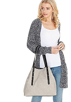 F&F Embossed Croc Effect Winged Tote Bag Grey One Size