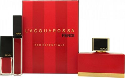 Fendi L'Acquarossa Gift Set 50ml EDP + Red Lipgloss + Red Nail Polish For Women